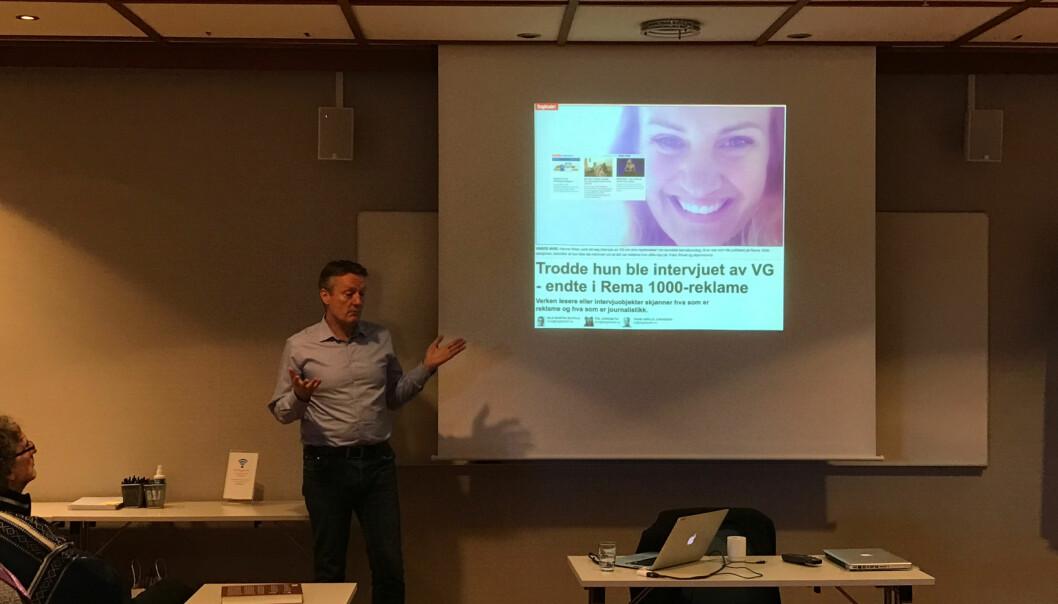 Innholdssjef Svein Arne Haavik i VG Partnerstudio sier at de har innført krav om kontrakt slik at kilder som stiller opp vet at de uttaler seg i reklame, ikke til VGs redaksjon. Foto: Glenn Slydal Johansen