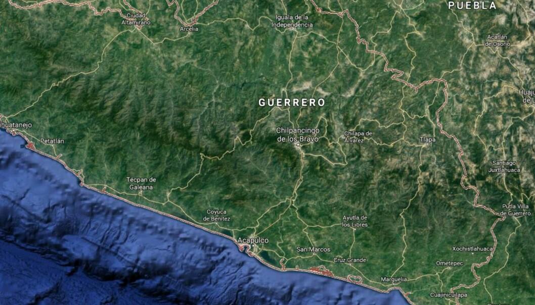 Kart over delstaten Guerrero. Foto: Google Maps.