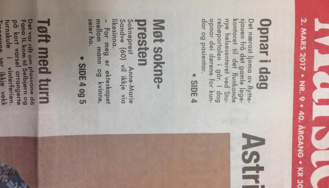 Forsiden på denne ukens utgave av Marsteinen, med Clements feil. Foto: May Linn Clement