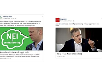 Senterpartiet vinklet om Dagbladet-artikkel på Facebook