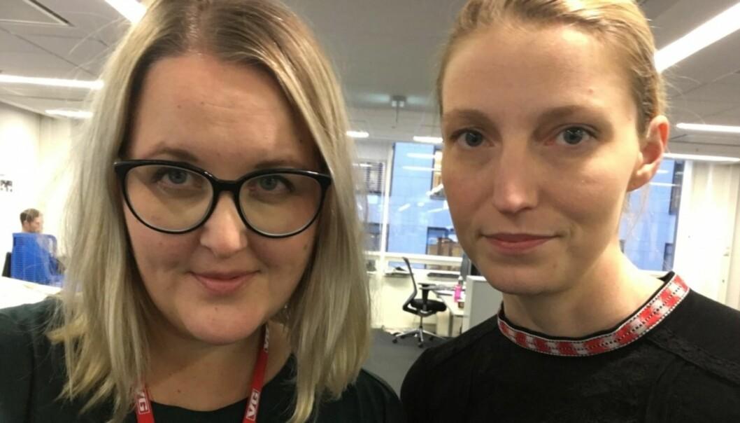 Synnøve Åsebø og Mona Grivi Norman mottok på tirsdag pris for arbeidet med å belyse bruken av tvang ved norske helseforetak. Foto: Synnøve Åsebø