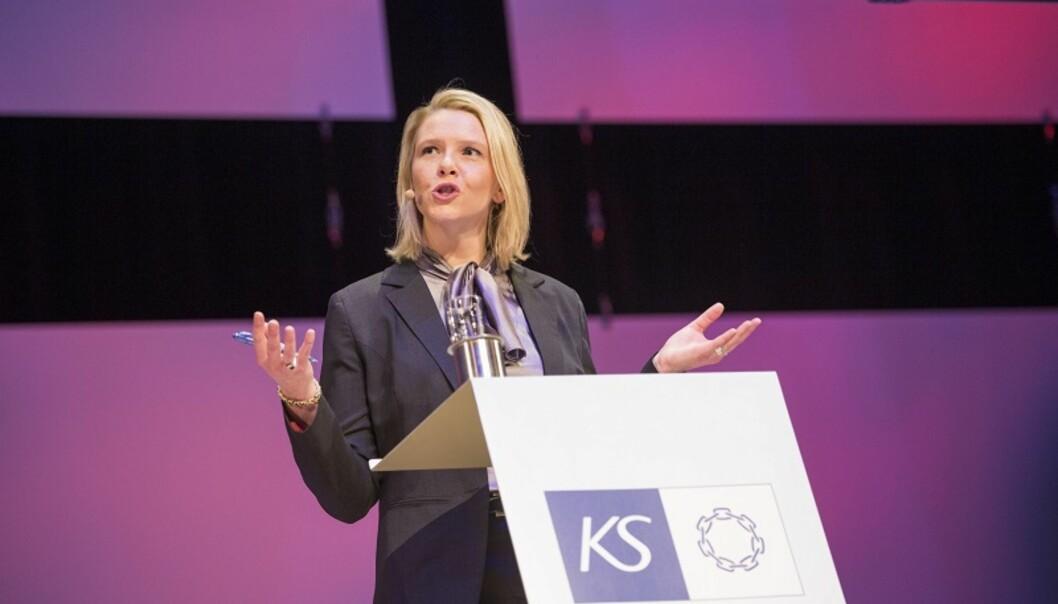Sylvi Listhaug, her under et foredrag hos kommunesektorens organisasjon. Foto: Sondre Steen Holvik / NTB Scanpix Produksjon.
