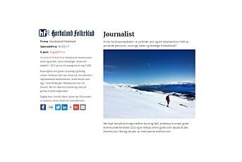 Hordaland Folkeblads stillings=annonse går viralt – søker journalist som ikke forventer kantine med quesadilla