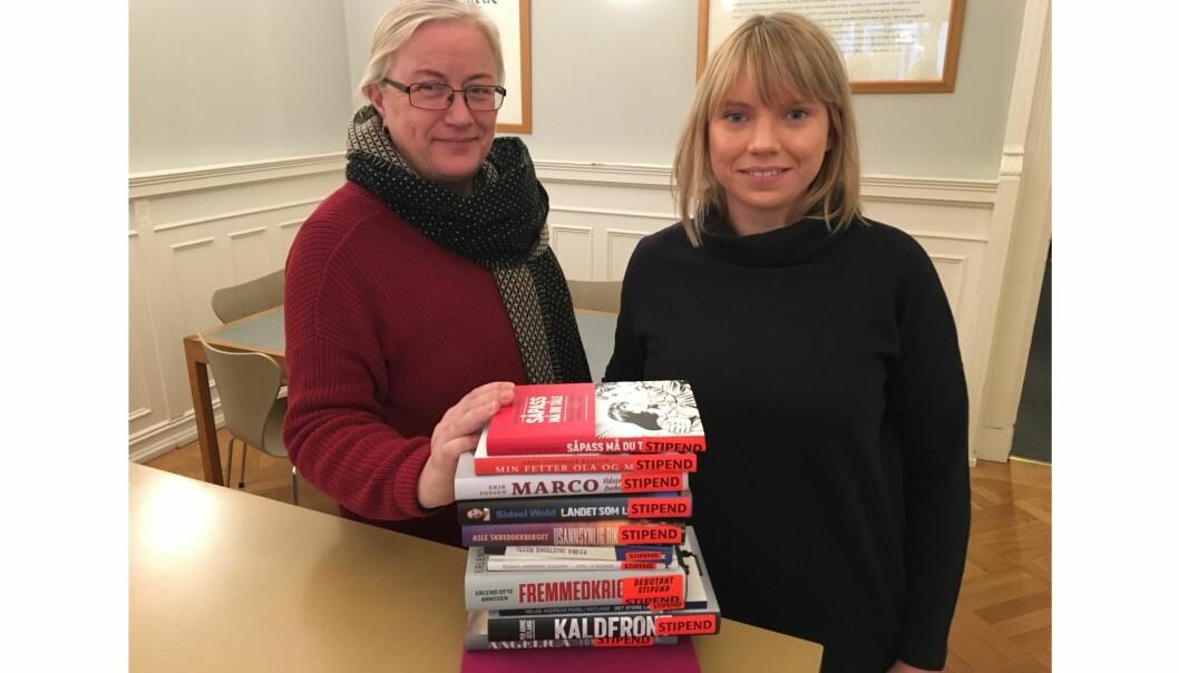 Seniorrådgiver Marit Ausland og saksbehandler for debatt- og aktualitetstipendet Nina Herland i NFF. Foto: Sverre Haga