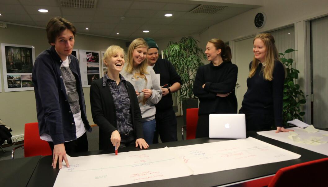 Disse står bak seminaret: Johannes Skov (fra venstre), Anna Takala, Oona Lohilahti, Hans Andreas Solbakken, Trude Furuly og Sandra Rönnsved. Foto: Amanda Åsberg.