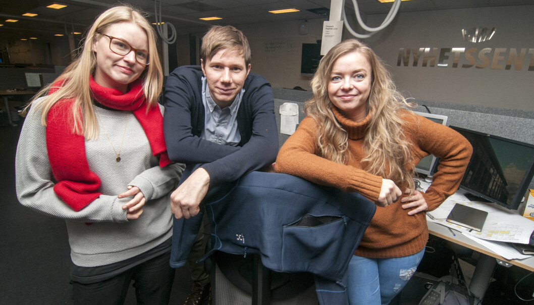 Astrid Øvre Helland(t.v.), Andreas Beddari Høyer og Linn Bertheussen kan glede seg over fast jobb i Nordlys. Foto: Nordlys