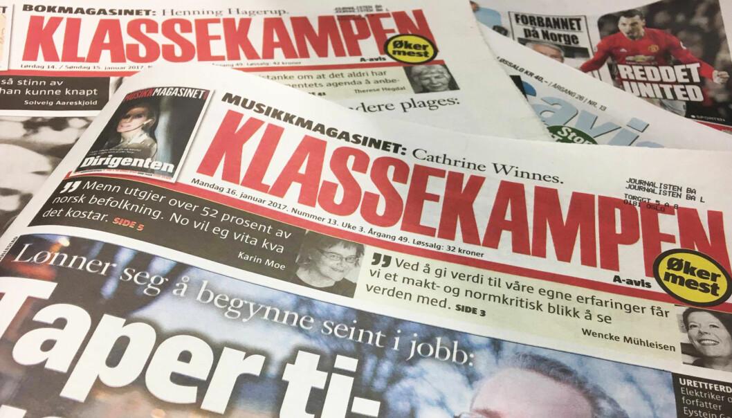 Alt tyder på at Klassekampen blir den avisen som får mest i produksjonsstøtte i 2018. Arkivfoto: Foto: Martin Huseby Jensen