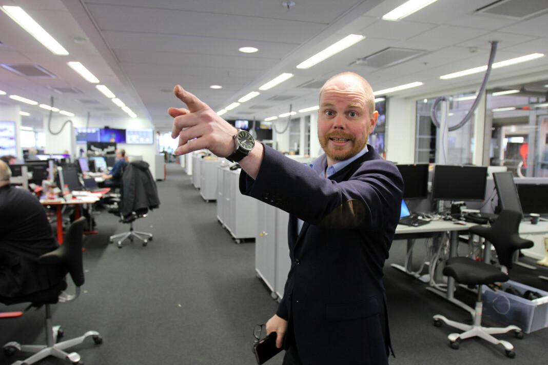 Gard Steiro i redaksjonslokalene til VG i 6. etasje i Akersgata 55. Foto: Glenn Slydal Johansen