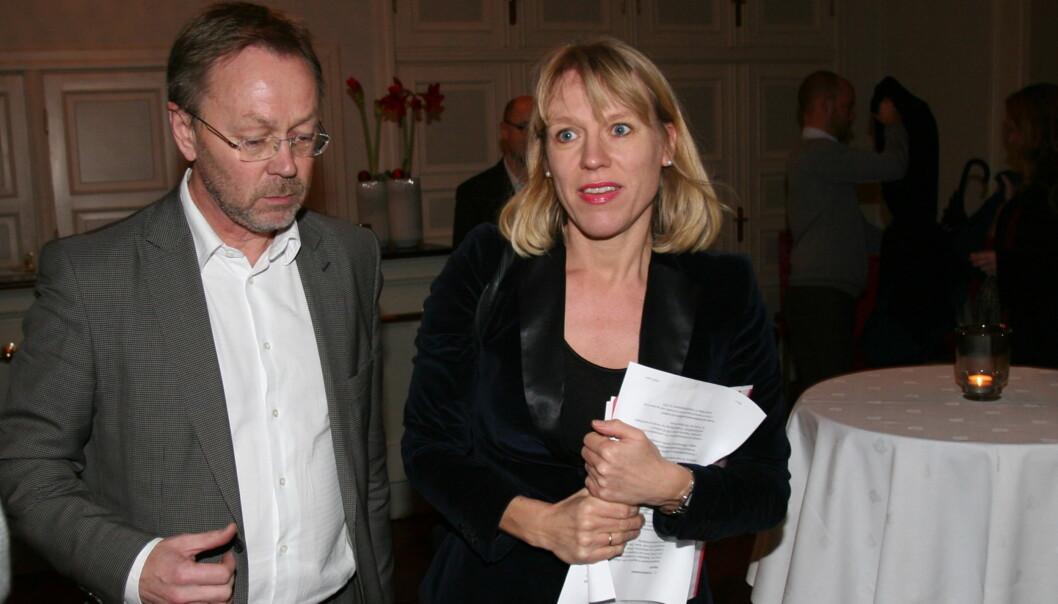 Kulturminister Anniken Huitfeldt var gjest hos Dagblad-sjefredaktør John Arne Markussen i Gamle Logen der avisas Ipad-applikasjon ble lansert. Foto: Glenn Slydal Johansen