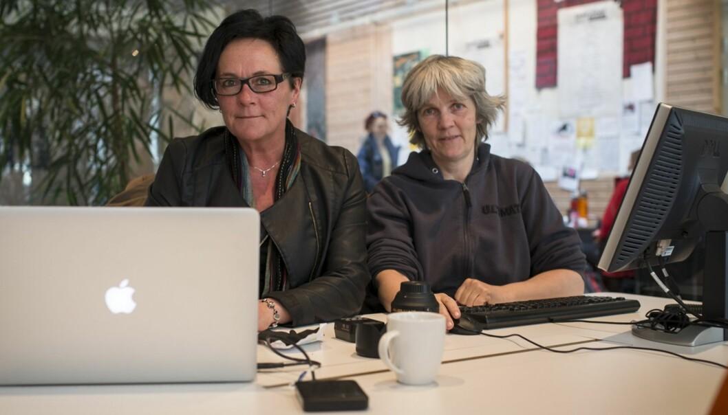 Redaktør Tove Lie (til venstre) og produsent Eva Tønnessen ved oppstarten av Khrono.