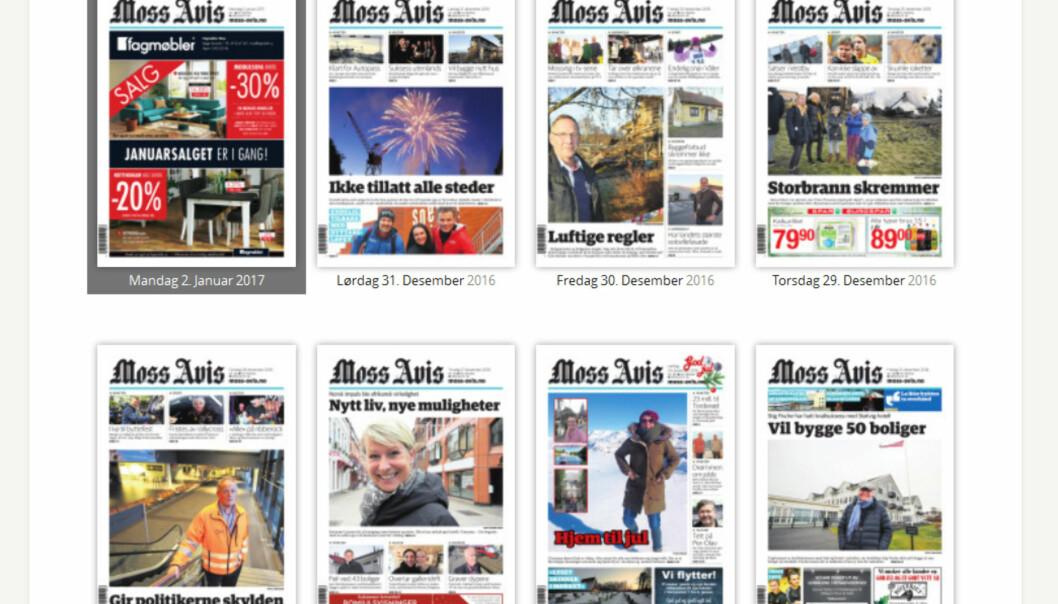 Mandag 2. januar er det en annonse som pryder Moss Avis' forside.