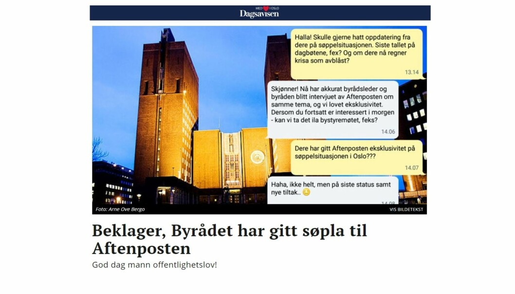 Skjermdump av Dagsavisens søppelsak.