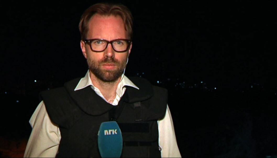 Her er Sigurd Falkenberg Mikkelsen på besøk i Gaza i 2014. Foto: NRK.