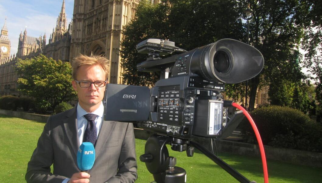 NRKs Espen Aas er eneste korrespondent igjen i London. I hans år i den britiske hovedstaden har antallet korrespondenter sunket betraktelig. Foto: Martin Huseby Jensen