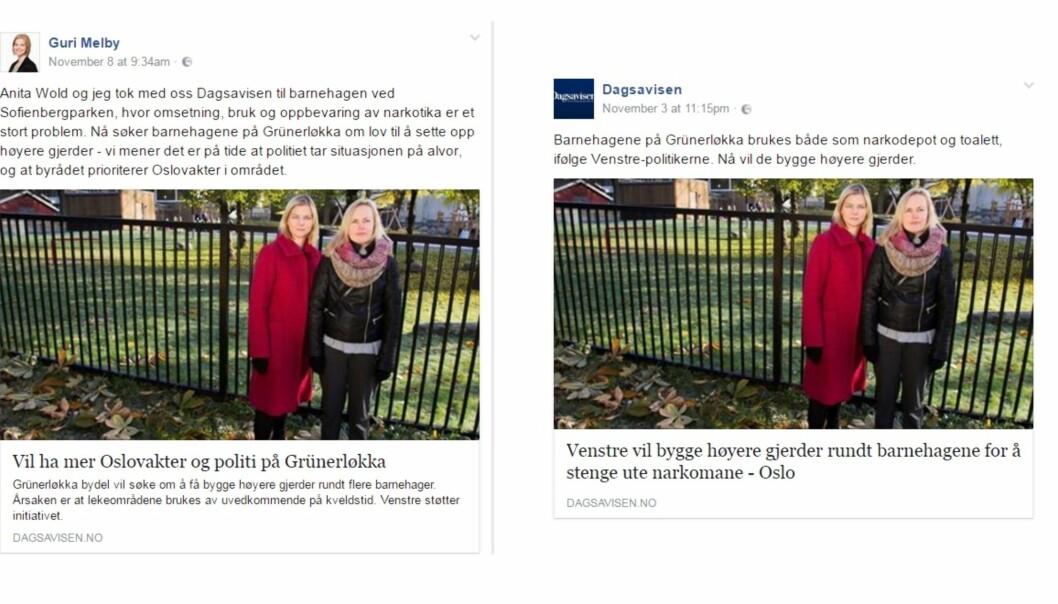 Skjermdumper fra Guri Melbys Facebook-side og Dagsavisens egen deling på Facebook.