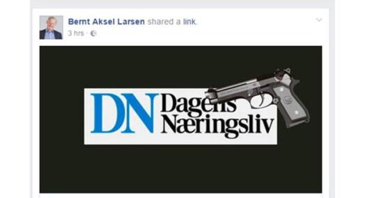 Slik illustrerte Bernt Aksel Larsen bloggen sin før helgen. Det likte Amund Djuve i Dagens Næringsliv dårlig