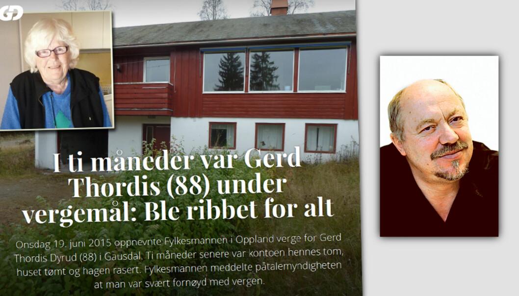 Journalist Einar Odden (innfelt) står bak reportasjen om den 88 år gamle kvinnen som mistet 400.000 da hun var satt under vegemål. Faksimile/Foto GD