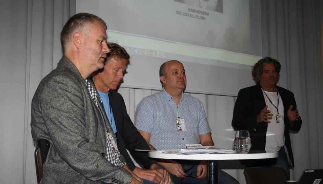 Bård Siem i NRK, advokat Lous Anda, Bjarte Gangeskar i barnevernet og debattleder Jan Inge Fardal i Sogn Avis. Foto: Angelica Hagen