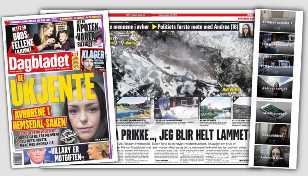 Faksimiler Dagbladet papir torsdag 13. oktober og nettspesial (til høyre)