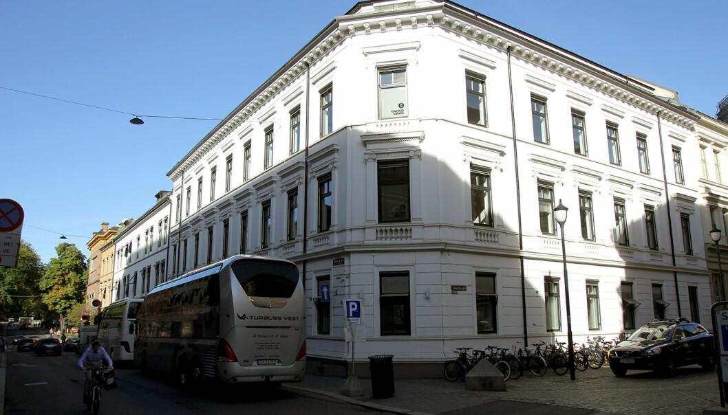 Dagsavisen har leieavtale på dette bygget med adresse Kristian IVs gate 13 i Oslo frem til april 2024. Foto: Glenn Slydal Johansen