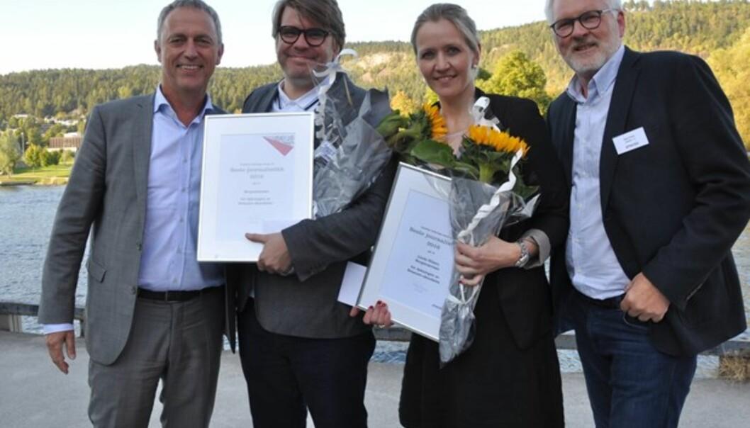 Prisvinner Linda Nilsen sammen med BAs ansvarlige redaktør Sigvald Sveinbjørnsson. Til venstre Amedias konsernsjef Are Stokstad og juryleder Stig Finslo til Høyre. Foto: Amedia