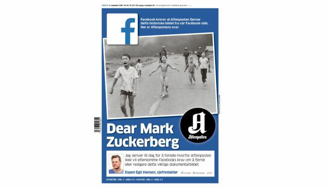 Fredag har Aftenpostens morgenutgave Facebooks logo