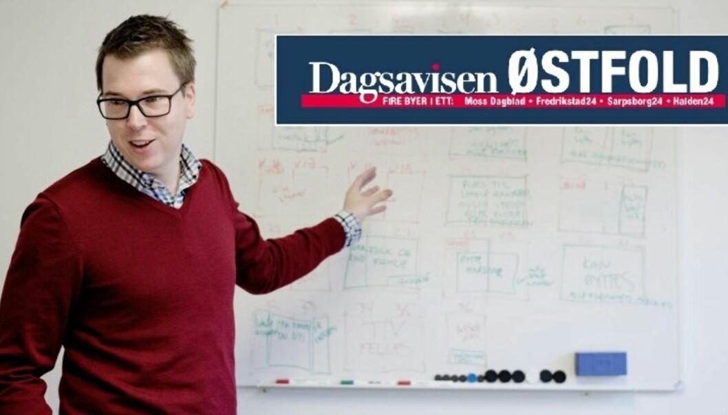 Dagsavisen og publisher Eirik Hoff Lysholm er på offensiven og utvider satsingen fra én til fire byer. Fotomontasje: Jan Inge Haga/skjermdump