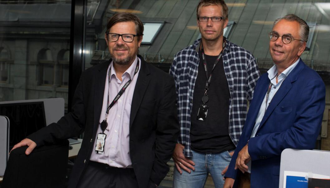 Redaktør Kjell Werner (til høyre) mener LO Medias oppkjøp blir en god løsning for Avisenes Nyhetsbyrå. Her sammen med ANB-journalistene Helge Rønning Birkelund og Aslak Bodahl (i midten). Foto: Øyvind Aukrust, LO Media