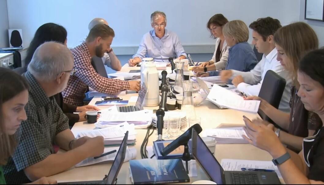På sitt augustmøte tirsdag behandlet Pressens Faglige Utvalg blant annet klager mot Forskning.no og Namdalsavisa. Foto: Tor Torgersen/Skjermdump fra Journalistens direkteoverføring