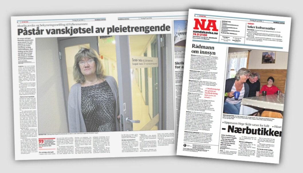 Oppslag i Namdalsavisa 19. juli og leder i samme avis påfølgende dag.