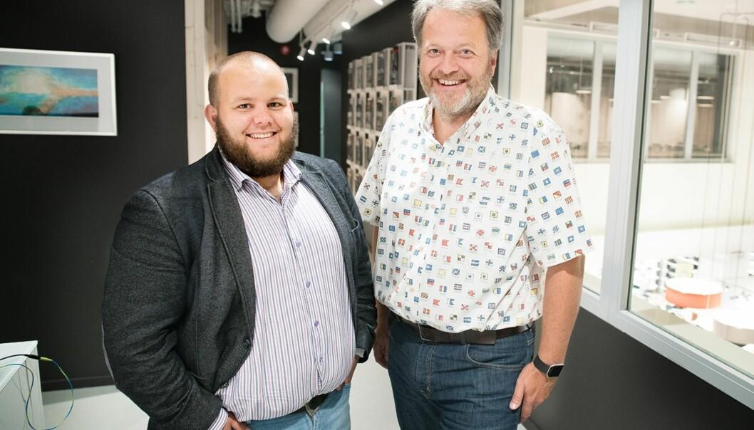 Ansvarlig redaktør Gard Michalsen i Medier 24 (til venstre) og sjefredaktør og administrerende direktør Jan Moberg i TU Media. Foto: Eirik Helland Urke/Teknisk Ukeblad