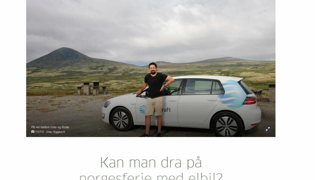 Journalist Eggesvik planla elbilferie i Norge. Det ble til en reportasje, men da hadde han allerede leid bil. Foto: Skjermdump fra Aftenposten