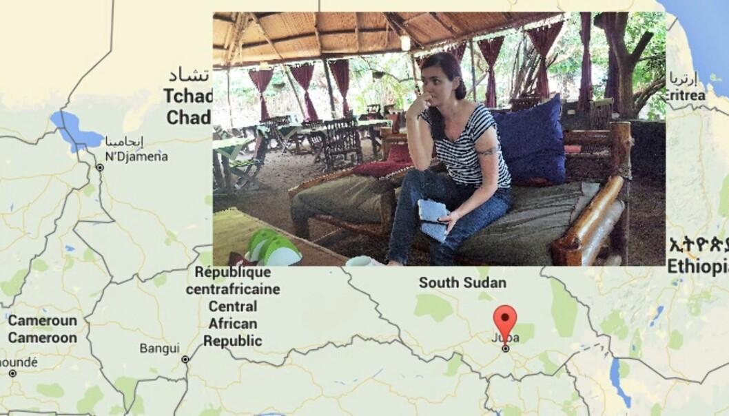 Frilanser Maren Sæbø er eneste norske journalist i Juba, der det har oppstått borgerkrigsliknende tilstander i helgen. Foto: Privat og Google Maps