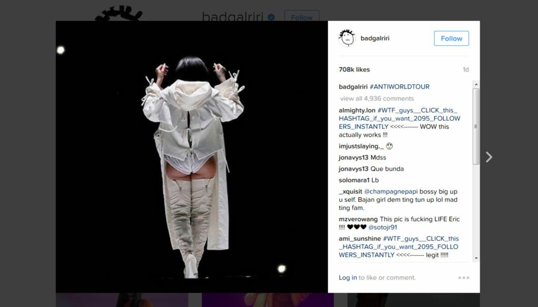 Bildet som ligger på Instagram-kontoen til Rihanna er godt likt, men det er altså VG og deres fotograf Frode Hansen og ikke Rihannas folk som har tatt bildet.