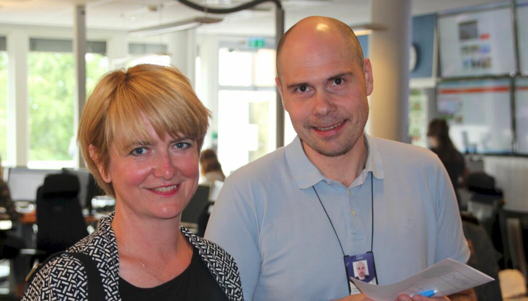 Nyansatt programsjef for Nord-Norge, Tone Lein, sammen med regionsredaktør Anders Opdahl. Foto: NRK
