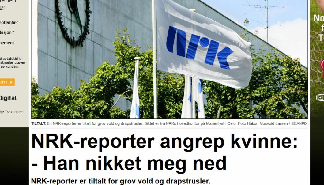 Gjerningsmannen arbeider i NRK, derfor er det naturlig å ha med nanv på arbeidsplassen og dets logo i dekningen av en rettssak på mannen. Skjermdump/Dagbladet.no