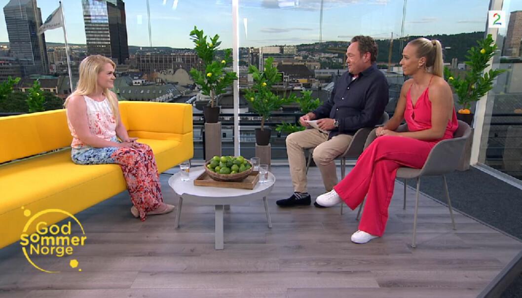 Stina Brendemo i intervju på taket av TV 2-huset i Oslo med Fredrik Græsvik og Karina Flatland. Foto: TV 2/Skjermdump