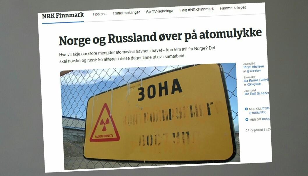NRK Finnmark har fulgt forberedelsene til atomavfall-øvelsen på Kolahalvøya. Skjermdump fra NRK Finnmark