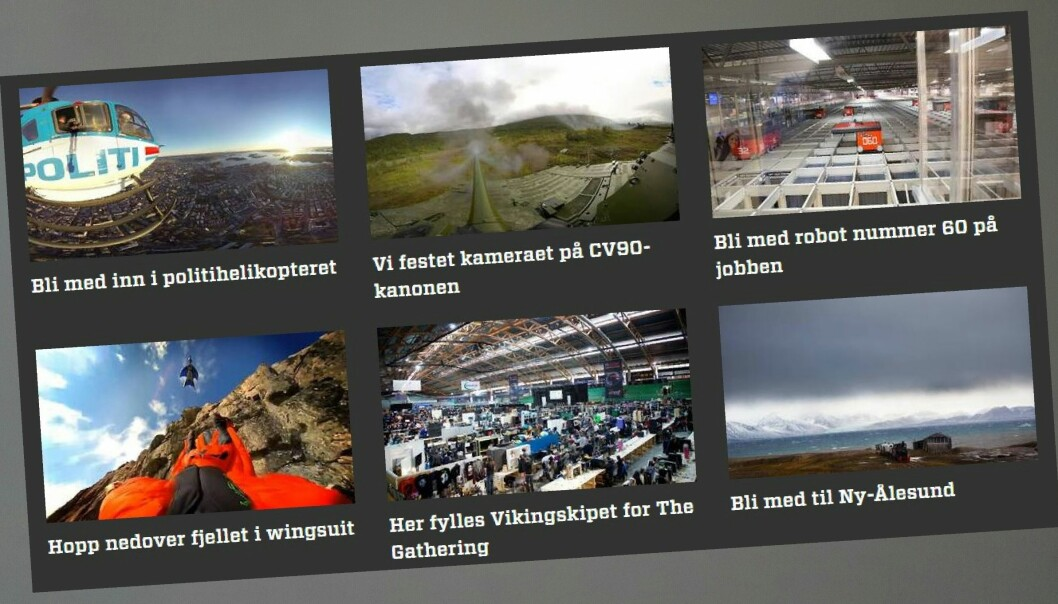Teknisk Ukeblad satser millioner av kroner på VR-journalistikk, med støtte fra Google. Skjermdump fra TU.no