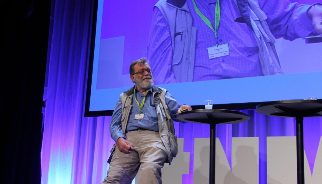 Professor Frank Aarebrot presenterte Medieundersøkelsen under Nordiske Mediedager torsdag formiddag. Foto: Angelica Hagen