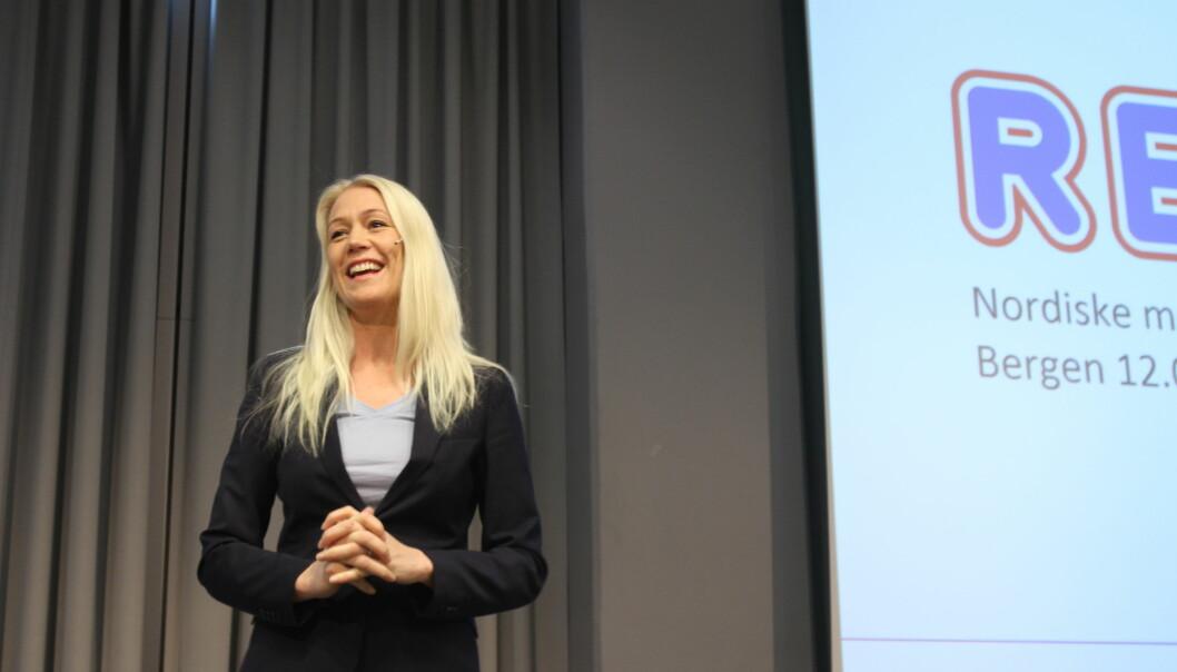 Mette Fossum Beyer i Rema 1000 talte under Nordiske Mediedager onsdag morgen. Foto: Angelica Hagen.