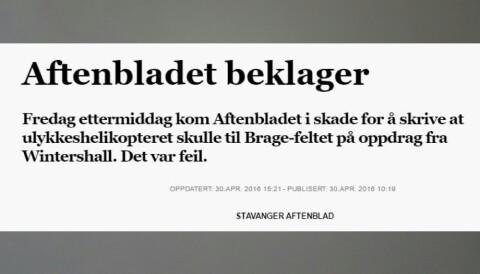 01e068be Aftenbladets kilder ga alvorlig feilinformasjon