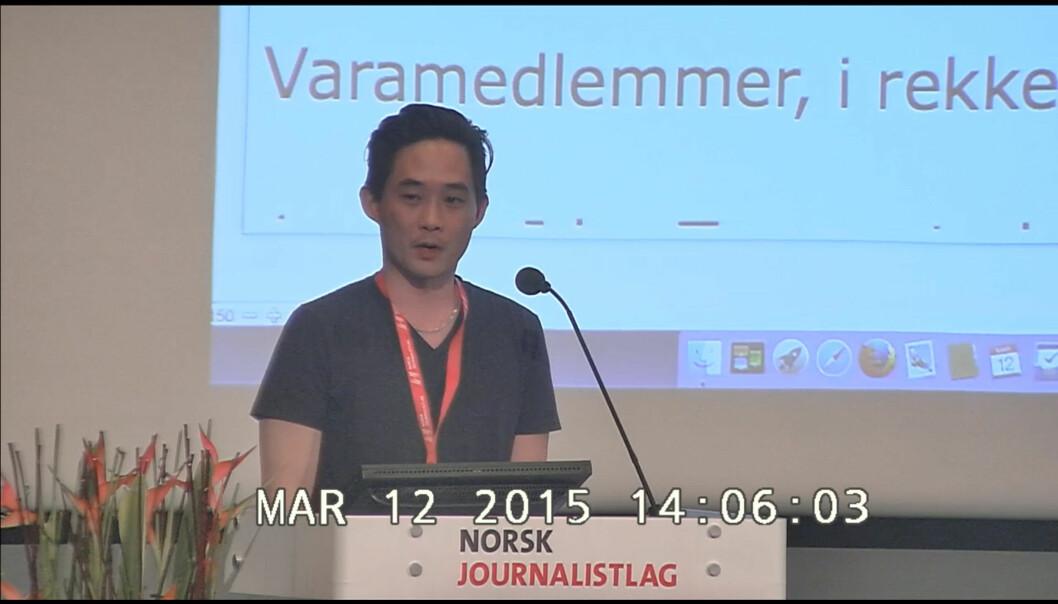 Geir M. Økland fra Klubb2 på talerstolen da han foreslår motkandidat til Finn Våga under NJs landsmøte i fjor. Foto: NJ