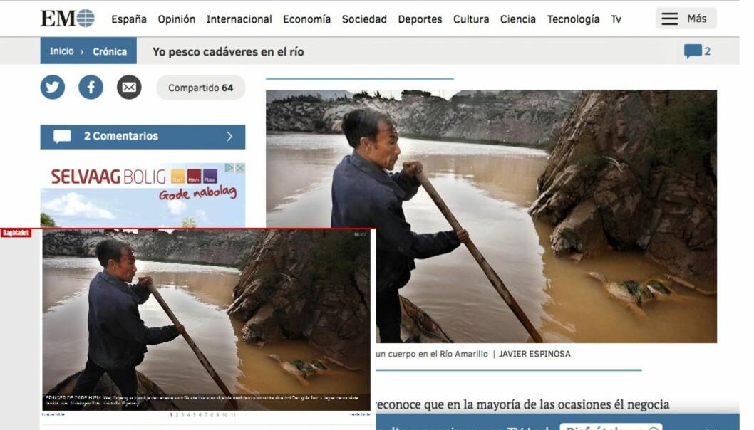 El Mundo stjal Kristoffer Egebergs foto og satte egen byline på bildet. Skjermdump: Dagbladet og El Mundo.