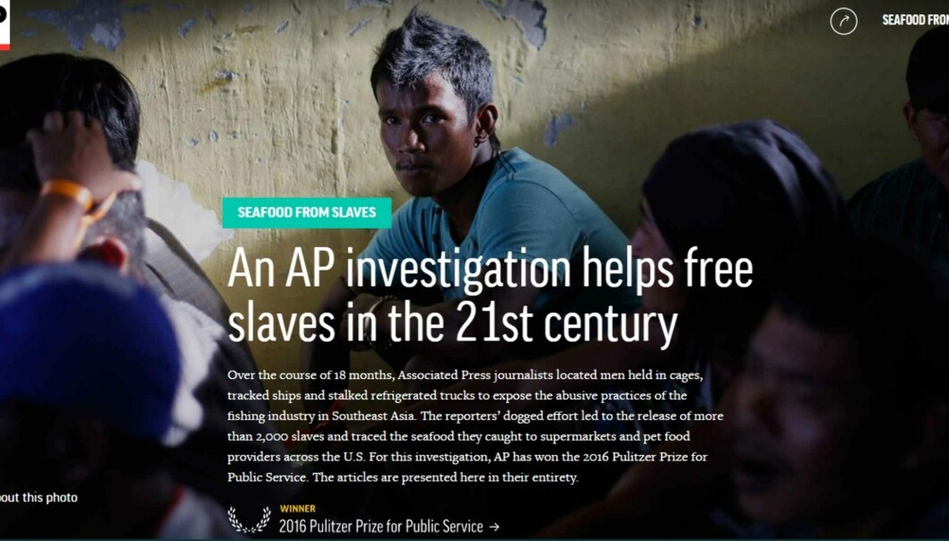 Associated Press stakk av med den kanskje gjeveste Pulitzer-prisen, for reportasjen «Seafood for slaves». Foto: Skjermdump fra Associated Press