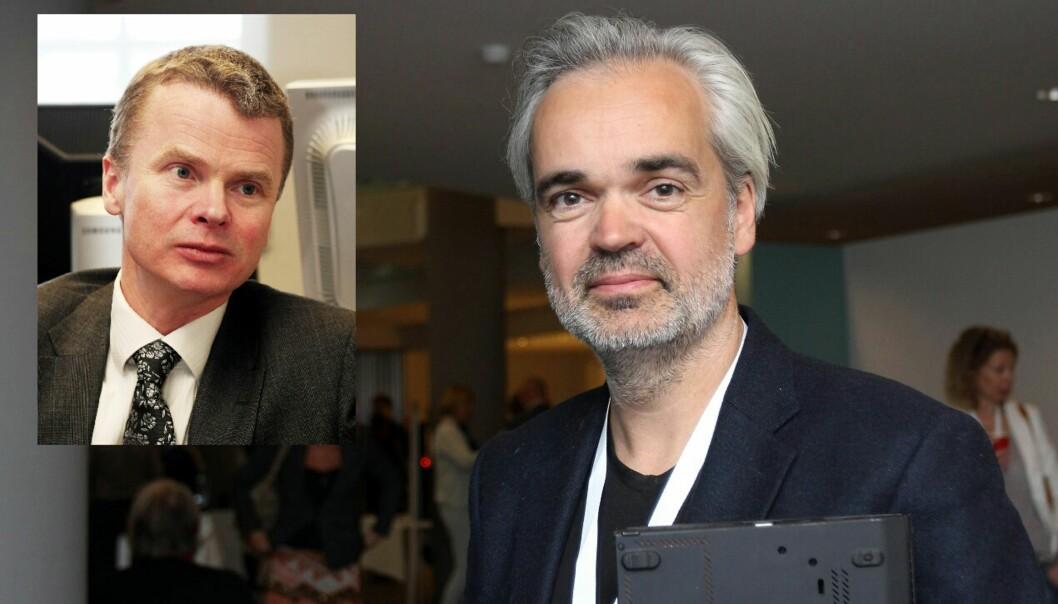 Sjefsredaktørene Eivind Ljøstad (det store bildet) og Lars Helle vil teste mikrobetaling i Fevennen og Aftenbladet.