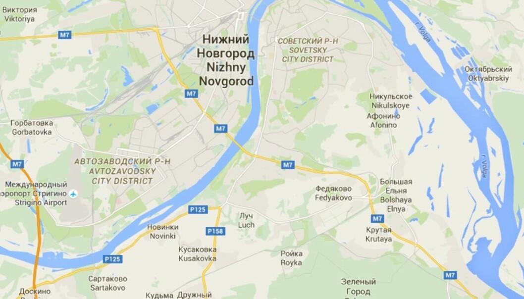 To nordmenn ble utvist fra Russland. Illustrasjon: Google Maps