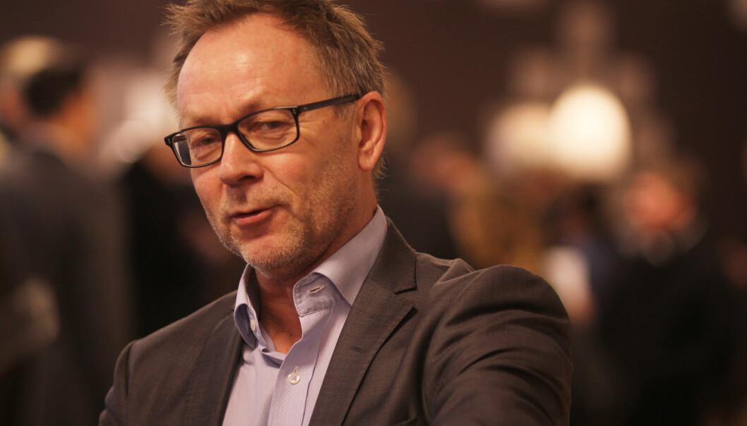 John Arne Markussen kan smile bredt når han ser oversikten over endring av norske avisers nettoopplag. Foto: Martin Huseby Jensen