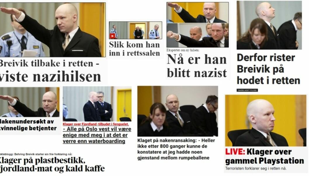 Collage av oppslag under rettssaken: Magnus Hoem Iversen