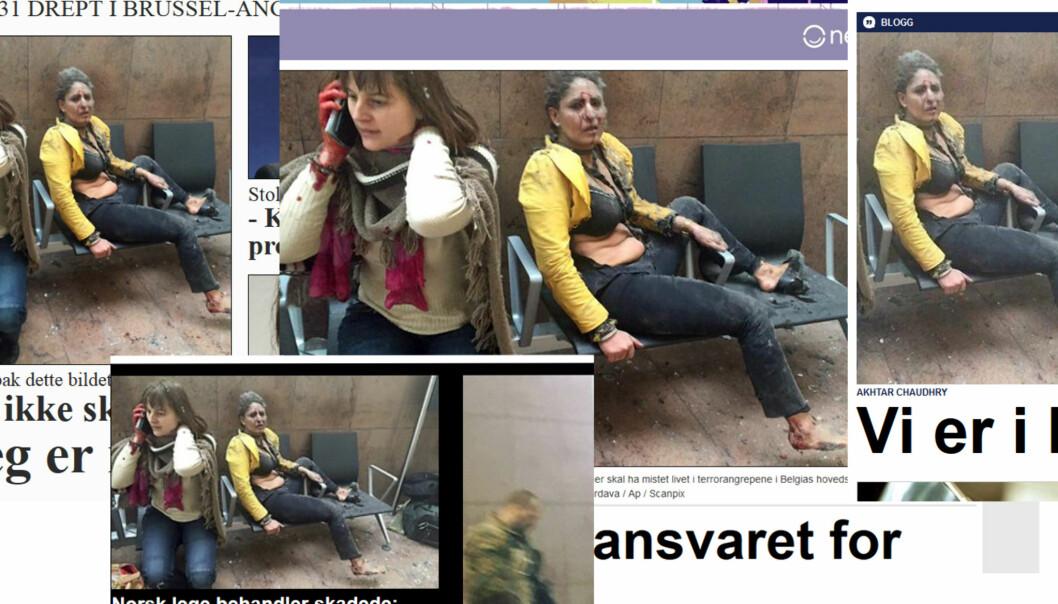 Ketevan Kardavas bilde er blitt brukt verden over, så også i Norge. Her fra nettutgavene til VG, Dagbladet, Aftenposten og Nettavisen.